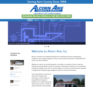 alcorn aire site example for gws web design portfolio