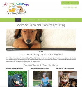 animal crackers pet sitting site example for gws web design portfolio