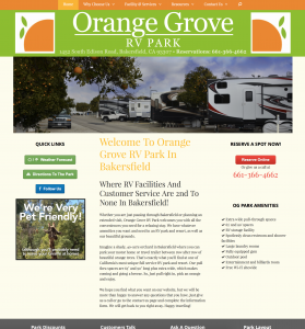 orange grove rv park site example for gws web design portfolio