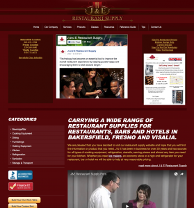 JE restaurant supply site example for gws web design portfolio