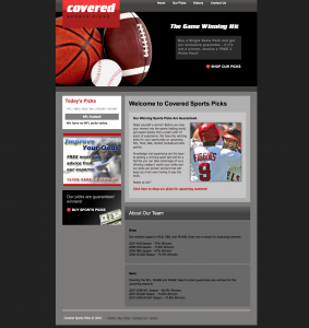 covered sports picks site example for gws web design portfolio