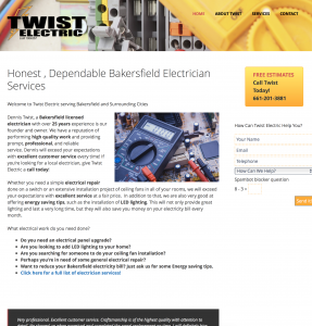 twist electrician site example for gws web design portfolio