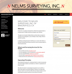 nelms land surveying site example for gws web design portfolio