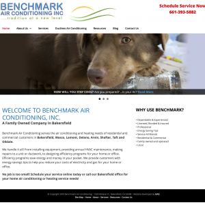 Benchmark air conditioning site example for gws web design portfolio