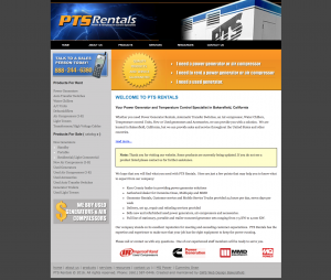 pts rentals site example for gws web design portfolio