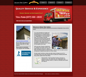 deleon rain gutters site example for gws web design portfolio