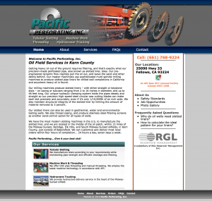 pacific perforating site example for gws web design portfolio