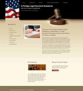 prestige paralegal bakersfield site example for gws web design portfolio